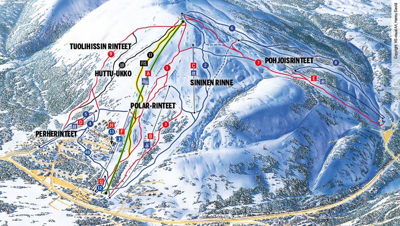 Карта склонов курорта Пюхя